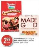 Quadratini Wafers (250g) or Made Good Granola Snacks