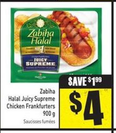 Zabiha Halal Juicy Supreme Chicken Frankfurters 900 g