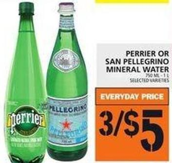 Perrier Or San Pellegrino Mineral Water