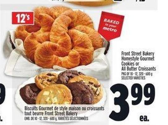 Front Street Bakery Homestyle Gourmet Cookies or All Butter Croissants