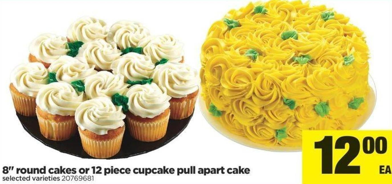 8in Round Cakes Or 12 Piece Cupcake Pull-apart Cake
