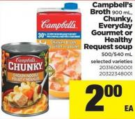 Campbell's Broth 900 mL - Chunky - Everyday Gourmet or Healthy Request Soup 500/540 mL