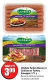 Lilydale Turkey Bacon or Chicken or Turkey Sausages 375 g