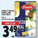 Streit's Matzo - Farfel And Cake Meal 454 G