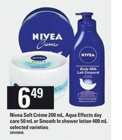 Nivea Soft Crème - 200 Ml - Aqua Effects Day Care - 50 Ml Or Smooth In Shower Lotion - 400 Ml