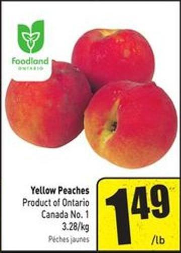 Yellow Peaches Product of Ontario Canada No. 1 3.28/kg