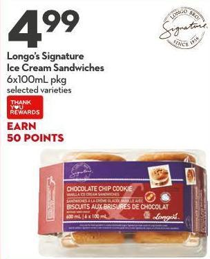 Longo's Signature Ice Cream Sandwiche