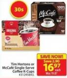 Tim Hortons or Mccafe Single-serve Coffee K-cups