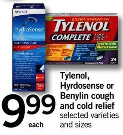 Tylenol - Hyrdosense Or Benylin Cough And Cold Relief