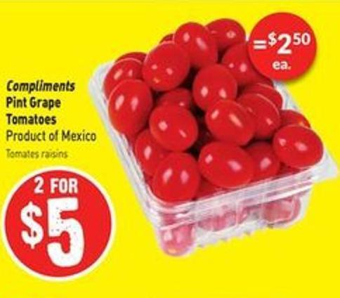 Compliments Pint Grape Tomatoes Product of Mexico