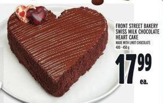 Front Street Bakery Swiss Milk Chocolate Heart Cake