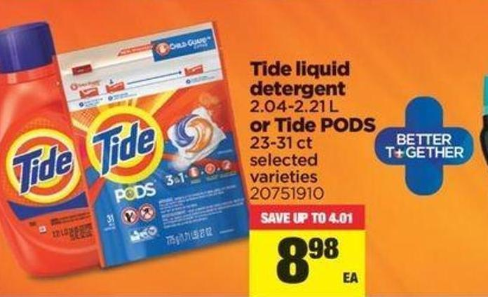 Tide Liquid Detergent - 2.04-2.21 L Or Tide PODS - 23-31 Ct