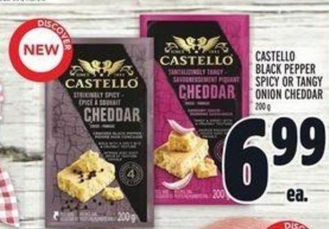 Castello Black Pepper Spicy Or Tangy Onion Cheddar