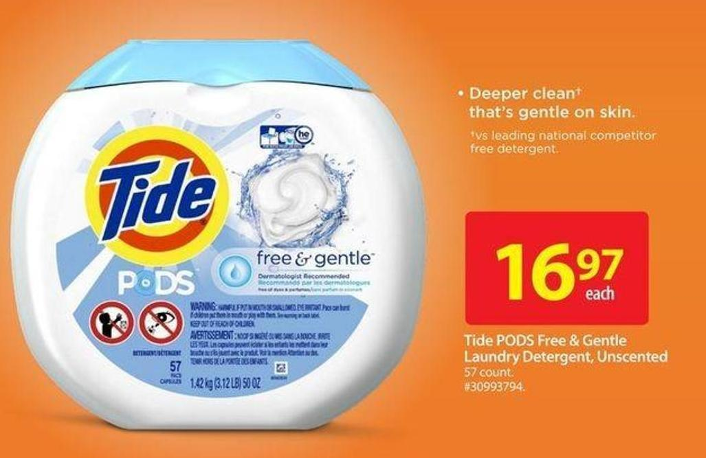 Tide PODS Free & Gentle Laundry Detergent - Unscented