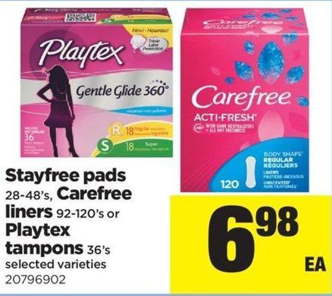 Stayfree Pads 28-48's - Carefree Liners 92-120's Or Playtex Tampons 36's
