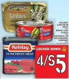 Holiday Luncheon Meat Or Maple Leaf Flakes Or Brunswick Or Millionaires Sardines