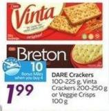 Dare Crackers 100-225 g - Vinta Crackers 200-250 g or Veggie Crisps 100 g  10 Air Miles Bonus Miles