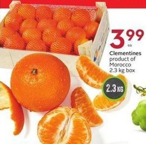 Clementines Product of Morocco 2.3 Kg Box