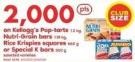 Kellogg's Pop-tarts 1.2 Kg - Nutri-grain Bars 1.18 Kg - Rice Krispies Squares 660 g Or Special K Bars 500 g