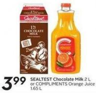 Sealtest Chocolate Milk 2 L or Compliments Orange Juice 1.65 L