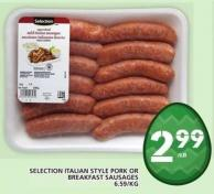 Selection Italian Style Pork Or Breakfast Sausages