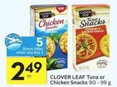 Clover Leaf Tuna or Chicken Snacks - 5 Air Miles Bonus Miles
