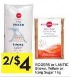 Rogers or Lantic Brown - Yellow or Icing Sugar 1 Kg