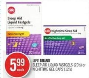 Life Brand Sleep Aid Liquid Fastgels (20's) or Nighttime Gel Caps (12's)