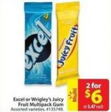 Excel or Wrigley's Juicy Fruit Multipack Gum