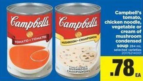 Campbell's Tomato - Chicken Noodle - Vegetable Or Cream Of Mushroom Condensed Soup - 284 Ml