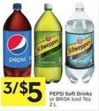 Pepsi Soft Drinks or Brisk Iced Tea 2 L