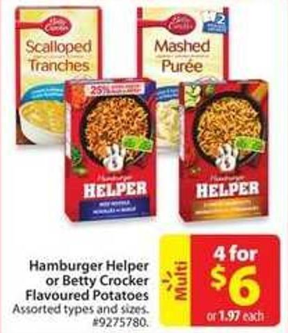 Hamburger Helper or Betty Crocker Flavoured Potatoes