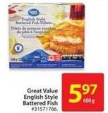 Great Value English Style Battered Fish