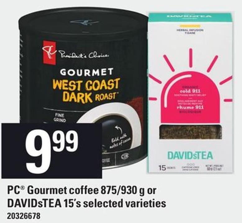 PC Gourmet Coffee 875/930 G Or Davidstea 15's