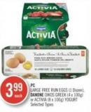 PC Large Free-run Eggs (1 Dozen) - Danone Oikos Greek (4 X 100g) or Activia (8 X 100g) Yogurt