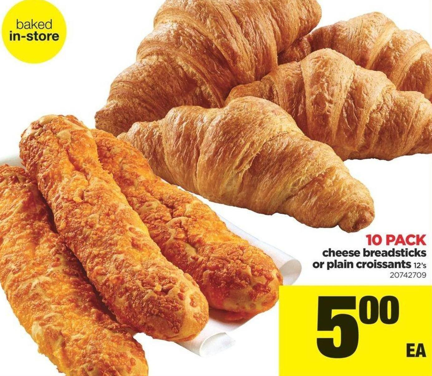 Cheese Breadsticks Or Plain Croissants - 12's - 10 Pack