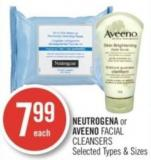 Neutrogena or Aveeno Facial Cleansers Selected Types & Sizes
