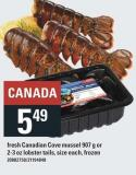 Fresh Canadian Cove Mussel 907 G Or 2-3 Oz Lobster