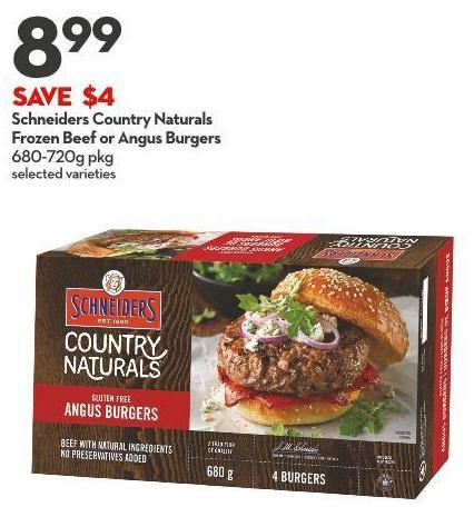 Schneiders Country Naturals Frozen Beef or Angus Burgers 680-720g Pkg
