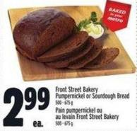 Front Street Bakery Pumpernickel or Sourdough Bread
