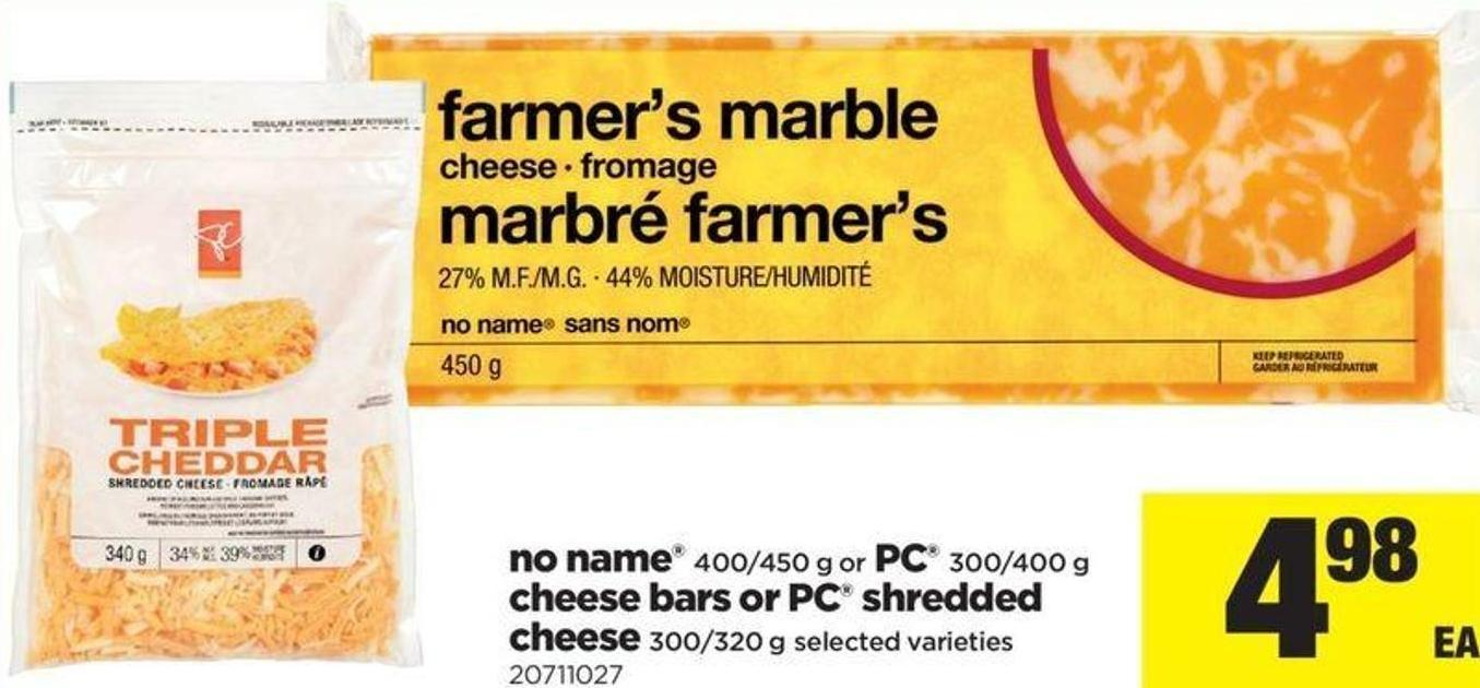 No Name - 400/450 G Or PC - 300/400 G Cheese Bars Or PC Shredded Cheese - 300/320 G