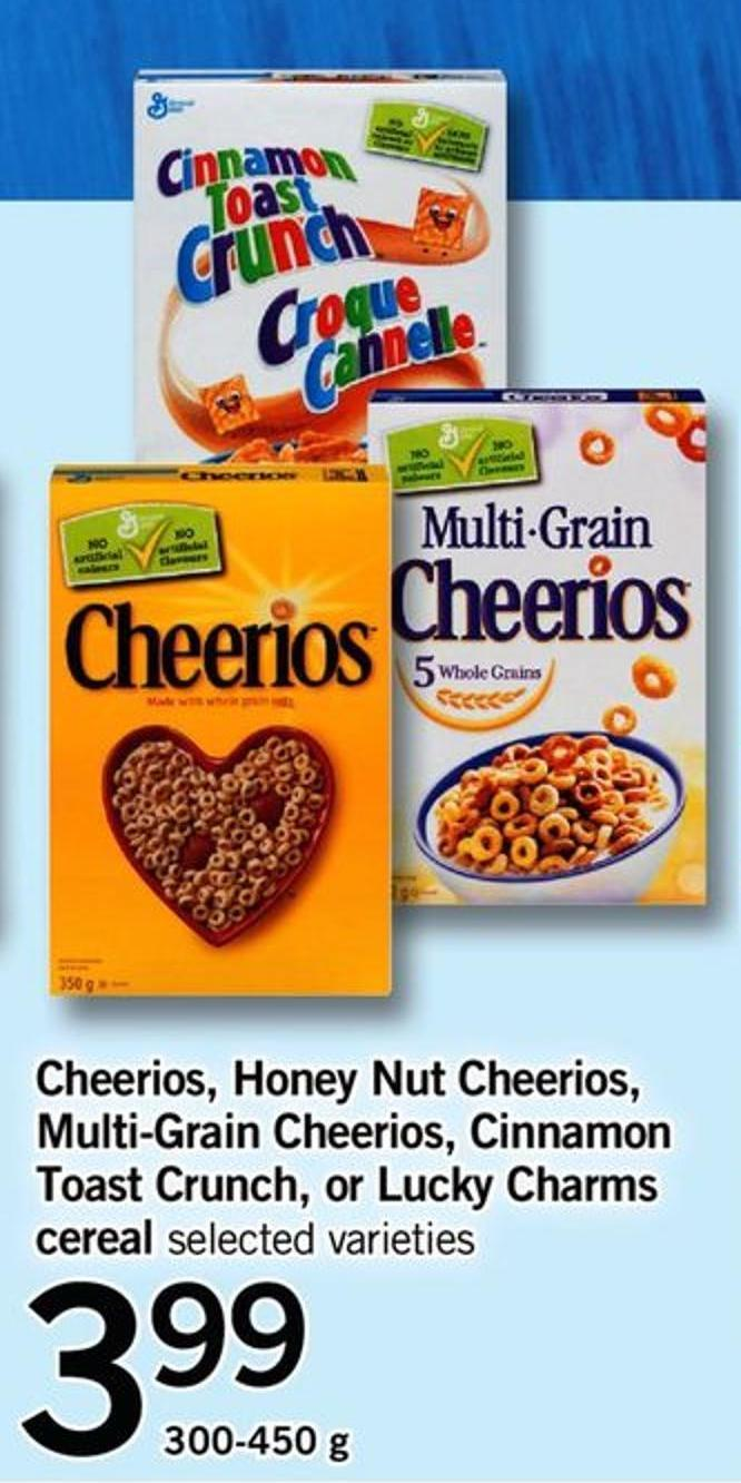 Cheerios - Honey Nut Cheerios - Multi-grain Cheerios - Cinnamon Toast Crunch - Or Lucky Charms Cereal - 300-450 G
