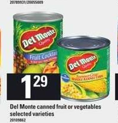 Del Monte Canned Fruit Or Vegetables