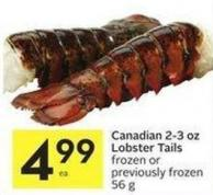 Canadian 2-3 Oz Lobster Tails Frozen or Previously Frozen56 g