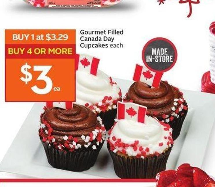 Gourmet Filled Canada Day Cupcakes