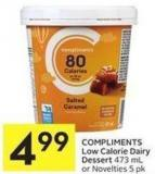 Compliments Low Calorie Dairy Dessert 473 mL or Novelties 5 Pk