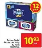 Royal Facial Tissue 2 or 3-ply 12-pack