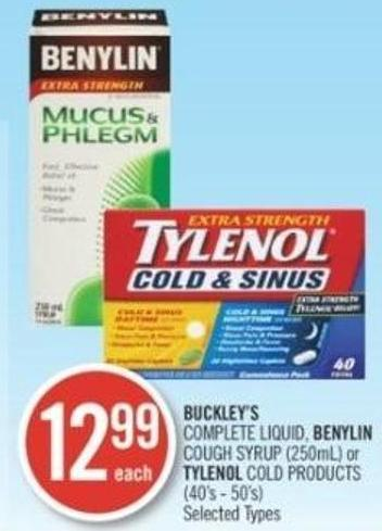 Buckley's Complete Liquid - Benylin Cough Syrup (250ml) Or Tylenol Cold Products