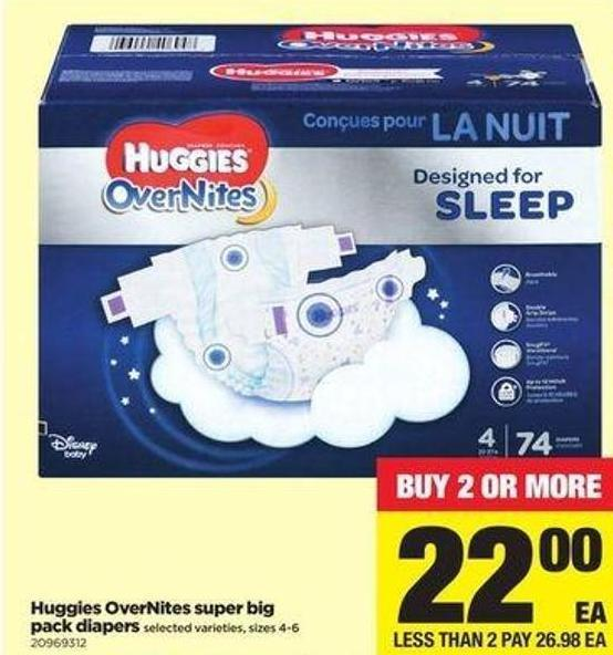 Huggies Overnites Super Big Pack Diapers - Sizes 4-6