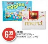 Merci Chocolate (250g) or Hershey's Eggies (400g)